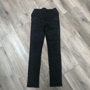 Black coated denim maternity jeans